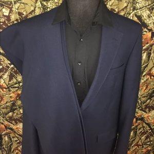 Men's 2PC Suit Wool 46L Blue Jacket/Pants